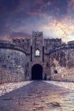 Medieval Castle of the Knights old town of Rhodes Island Fotos de archivo libres de regalías