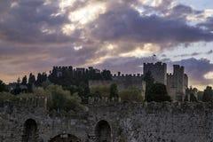 Medieval Castle of the Knights old town of Rhodes Island Fotografía de archivo libre de regalías