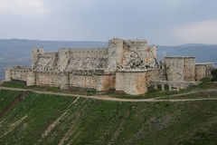 Medieval castle of krak des chevalliers. The medieval castle of krak des chevalliers in syria stock photo