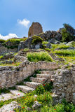 Medieval castle of Kritinia Kastellos, Rhodes island, Greece Royalty Free Stock Photos