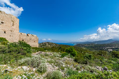 Medieval castle of Kritinia Kastellos, Rhodes island, Greece Stock Photography
