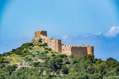 Medieval castle of Kritinia Kastellos, Rhodes island, Greece Stock Image