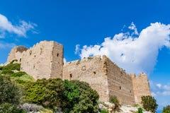 Medieval castle of Kritinia Kastellos, Rhodes island, Greece Stock Photos