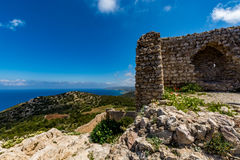 Medieval castle of Kritinia Kastellos, Rhodes island, Greece Royalty Free Stock Image