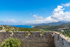 Medieval castle of Kritinia Kastellos, Rhodes island, Greece Stock Images