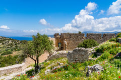 Medieval castle of Kritinia Kastellos, Rhodes island, Greece Stock Photo