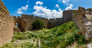 Medieval castle of Kritinia Kastellos, Rhodes island, Greece Stock Photos