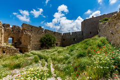 Medieval castle of Kritinia Kastellos, Rhodes island, Greece Royalty Free Stock Images