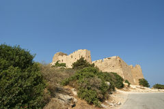 Medieval Castle of Kritinia in Rhodes Greece, Dodecanese Stock Photos