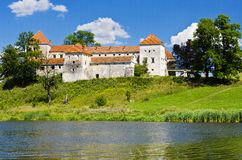 Medieval castle. At the lake in Ukraine Stock Photography