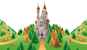 Medieval castle in the land. royalty free illustration