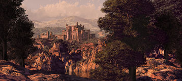 Medieval Castle Landscape. A distance medieval fortress seen from the woods royalty free illustration
