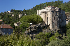 The medieval castle in Largentiere, France Stock Images