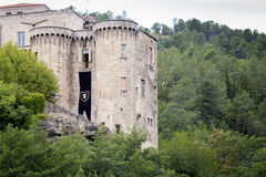 The medieval castle in Largentiere, France Royalty Free Stock Photos