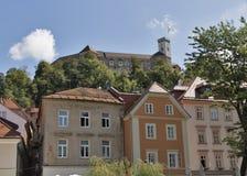 Medieval castle in Ljubljana, Slovenia. Cityscape with medieval castle on the hill in Ljubljana, Slovenia Stock Image