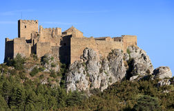 Medieval castle of Loarre on the rocks, Spain Stock Images