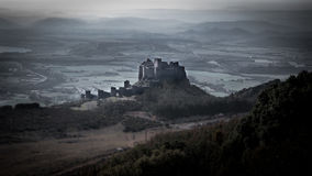 Medieval castle of Loarre in wildness, Aragon Stock Photos