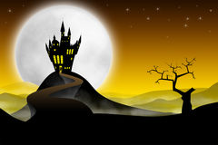 Medieval castle with long road Royalty Free Stock Photos