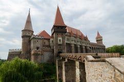 Medieval Castle. Main entrance of the Hunyad Castle ( in present-day Hunedoara, Romania Stock Photos