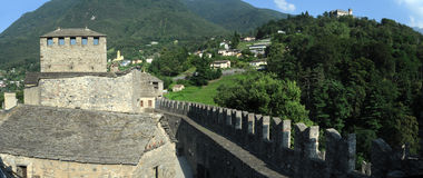 The medieval castle of Montebello at Bellinzona Royalty Free Stock Photography