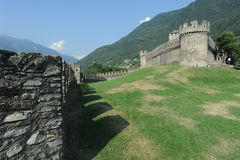 The medieval castle of Montebello at Bellinzona Stock Photo