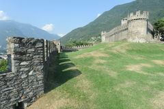 The medieval castle of Montebello at Bellinzona Royalty Free Stock Images