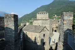 The medieval castle of Montebello at Bellinzona Royalty Free Stock Photos