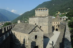 The medieval castle of Montebello at Bellinzona Royalty Free Stock Photo