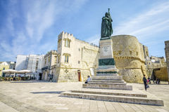 Medieval castle and monument in Otranto, Italy. Medieval castle and monument erected for heroes of 1480, Otranto, Puglia, Italy Stock Image