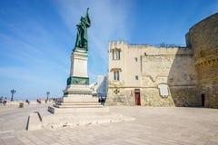 Medieval castle and monument in Otranto, Italy. Medieval castle and monument erected for heroes of 1480, Otranto, Puglia, Italy Stock Photos
