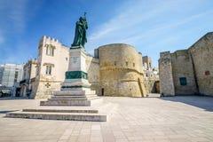 Medieval castle and monument in Otranto, Italy. Medieval castle and monument erected for heroes of 1480, Otranto, Puglia, Italy Royalty Free Stock Photos