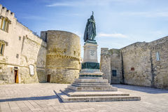 Medieval castle and monument in Otranto, Italy. Medieval castle and monument erected for heroes of 1480, Otranto, Puglia, Italy Stock Photography