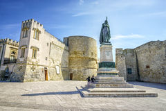 Medieval castle and monument in Otranto, Italy. Medieval castle and monument erected for heroes of 1480, Otranto, Puglia, Italy Royalty Free Stock Image