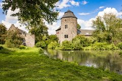 Medieval Castle near Dusseldorf, Germany. Medieval Castle Haus zum Haus in Ratingen, Germany Royalty Free Stock Images