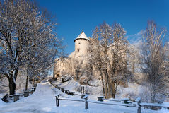 Medieval Castle in Niedzica, Poland, in winter Royalty Free Stock Photos