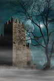 Medieval castle. Guimaraes Portugal. Medieval castle at night with full moon. Guimaraes. Portugal stock images