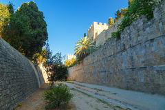 Medieval castle in old town of Rhodes. fortifications and protection of the ancient fortress of Rhodes Royalty Free Stock Photography