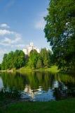 Medieval castle over lake scene Stock Image