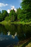 Medieval castle over lake scene Royalty Free Stock Photography