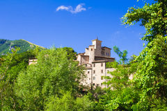 Medieval castle of Piobbico in the woods Stock Image