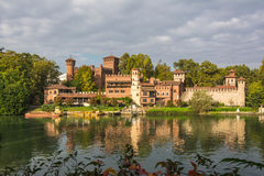 The medieval castle on the Po river, Turin. A view of a medieval castle on the Po river in Turin, Italy Royalty Free Stock Image