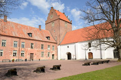 Medieval castle porch. Horizontal view for Swedish castle porch with medieval cannons Stock Photography