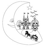 Medieval castle,princess, carriage and the Moon - hand drawing i Royalty Free Stock Photos