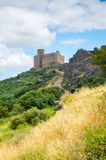 Medieval Castle of Puebla de Alcocer. Badajoz, Extremadura stock photos