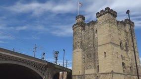 Medieval castle and rail bridge. British medieval castle and rail bridge stock video