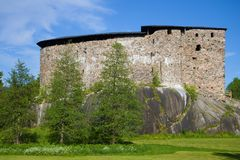 Medieval castle Raseborg close up in the sunny June afternoon. Finland Stock Image