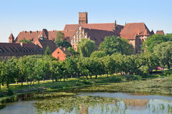 The medieval castle of red brick. Royalty Free Stock Photography