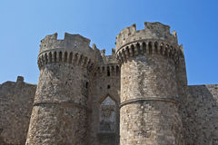 Medieval castle of Rhodes Island Royalty Free Stock Images