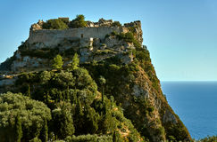 Medieval castle on rock at Corfu island Stock Photography