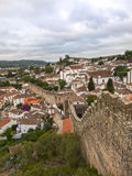 Medieval Castle, Rooftops, Houses and Walls in Obidos Village in Royalty Free Stock Photo
